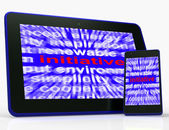 Initiative Tablet Means Motivation Leadership And Taking Action — Stock Photo