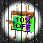 Ten Percent Reduced On Bags Shows 10 Promotions — Stock Photo