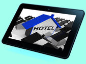 Hotel House Tablet Shows Place To Stay And Units — Stock Photo