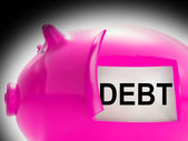 Debt Piggy Bank Message Means Arrears And Money Owed — Stock Photo