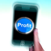 Profit On Mobile Phone Shows Profitable Incomes And Earnings — Stock Photo