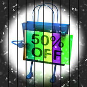 Fifty Percent Reduced On Bags Shows 50 Bargains — Stock Photo