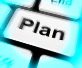 Plan Keyboard Shows Objectives Planning And Organizing — Foto de Stock