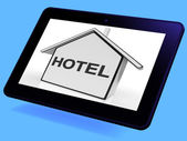 Hotel House Tablet Shows Holiday Accommodation And Units — Stock Photo