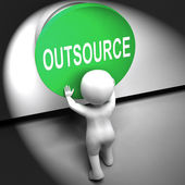 Outsource Pressed Means Freelancer Or Independent Worker — Foto de Stock