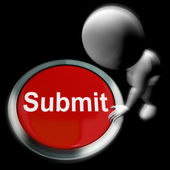 Submit Pressed Shows Submission Or Handing In — Stock Photo
