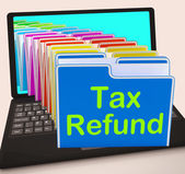 Tax Refund Folders Laptop Show Refunding Taxes Paid — Stock Photo