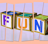 Fun Letters Mean Joy Pleasure And Excitement — Stock Photo