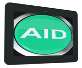 Aid Tablet Means Help Assist Or Rescue — Stock Photo