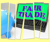 Fair Trade Piggy Bank Means Fairtrade Ethical Shopping — Stock Photo