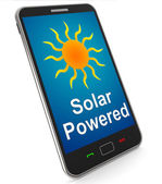 Solar Powered On Mobile Shows Alternative Energy And Sunlight — Stock Photo
