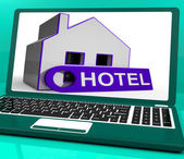 Hotel House Laptop Means Holiday Accommodation And Vacant Rooms — Stock Photo