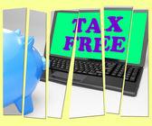 налоговые свободной копилку показывает товаров в отсутствие налоговой зоны — Стоковое фото