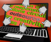 Outsource Laptop Screen Means Contract Out To Freelancer — Stockfoto