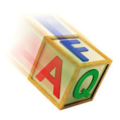 FAQ Wooden Block Means Questions Inquiries And Answers — Stock Photo