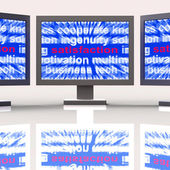 Satisfaction Monitors Shows Enjoyment Contentment And Fulfilment — Stock Photo