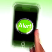 Alert Mobile Shows Alerting Notification Or Reminder — Stock Photo