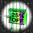 Twenty-five Percent Reduced On Bags Shows 25 Bargains — Stock Photo