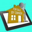 For Sale By Owner House Tablet Shows Selling Without Agent — 图库照片