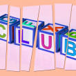 Club Letters Mean Membership Registration And Subscription — Stock Photo