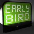 Early Bird Digital Clock Shows Punctuality Or Ahead Of Schedule — Stock Photo