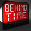 Behind Time Digital Clock Shows Running Late Or Overdue — Stock Photo #47842833