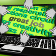 Great Job Laptop Screen Shows Awesome Work And Positive Feedback — 图库照片 #47842937