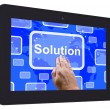 Solution Tablet Touch Screen Shows Achievement Resolution Solvin — Stock Photo #47843037