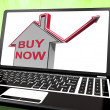 Buy Now House Laptop Shows Real Estate On Market — Stock Photo #47843563