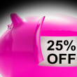 Twenty-Five Percent Off Piggy Bank Message Shows Price Slashed 2 — Stock Photo #47843855