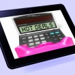 Hot Deals Calculator Tablet Shows Promotional Offer And Savings — Stock Photo #47844647