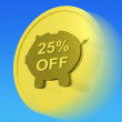 Twenty-Five Percent Off Gold Coin Shows 25 Discount Sale — Stock Photo