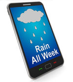 Rain All Week On Mobile Shows Wet  Miserable Weather — Stock Photo