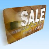 продажа на дебетовой карте кредит flying показывает предложение выгодной акции — Стоковое фото