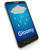 Gloomy On Mobile Shows Dark Grey Miserable Weather — Stock Photo