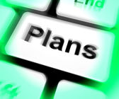 Plans Keyboard Shows Objectives Planning And Organizing — Foto de Stock