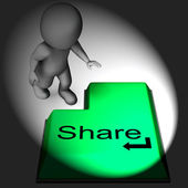 Share Keyboard Means Posting Or Recommending On Web — Stock Photo
