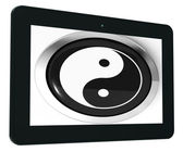 Ying Yang Tablet Means Spiritual Peace Harmony — Stock Photo