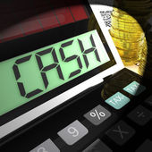 Cash Calculated Shows Money Earning And Spending — 图库照片