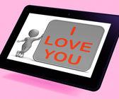 Eu te amo mostra amar o parceiro ou família da tabuleta — Fotografia Stock