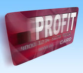 Profit on Credit Debit Card Flying Shows Earn Money — Stock Photo