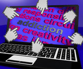 Addiction Laptop Screen Means Obsession Enslavement Or Dependenc — Stock Photo