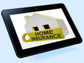 Home Insurance House Tablet Shows Premiums And Claiming — Stock Photo