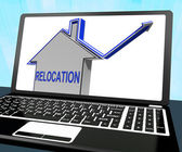 Relocation House Laptop Means Shifting And Change Of Residency — Stock Photo