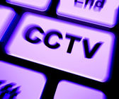 CCTV Keyboard Shows Camera Monitoring Or Online Surveillance — Stock Photo