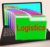 Logistics Folders Laptop Mean Planning Organization And Coordina — Stock Photo