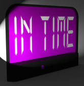 In Time Digital Clock Means Punctual Or Not Late — Stock Photo