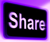 Aandeel bord toont delen webpagina of afbeelding online — Stockfoto