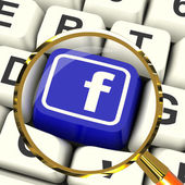 Facebook Key Magnified Means Connect To Face Book — Stock Photo