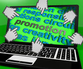 Promotion Laptop Screen Shows Marketing Campaign Or Promo — Stock Photo